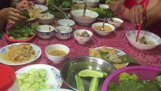 Cambodian family eating traditional food, Cambodian food, Food in Asia