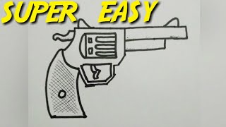 how to draw a gun or pistol | simple | easy | step by step