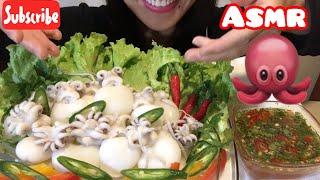 ASMR baby squid mukbang eating sounds