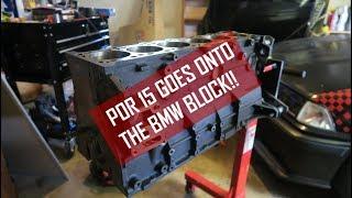 High-temp POR-15 paint goes on the BMW M50 engine block!