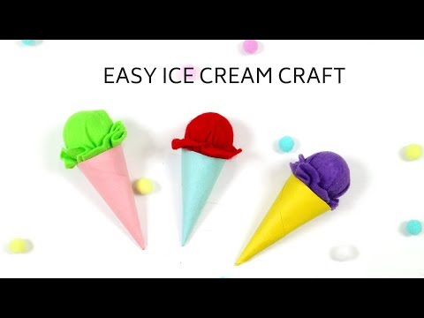 How to make an ice cream cone craft- Easy craft idea for kids using felt paper