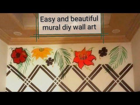 Diy mural (wall painting) |Easy and beautiful wall art