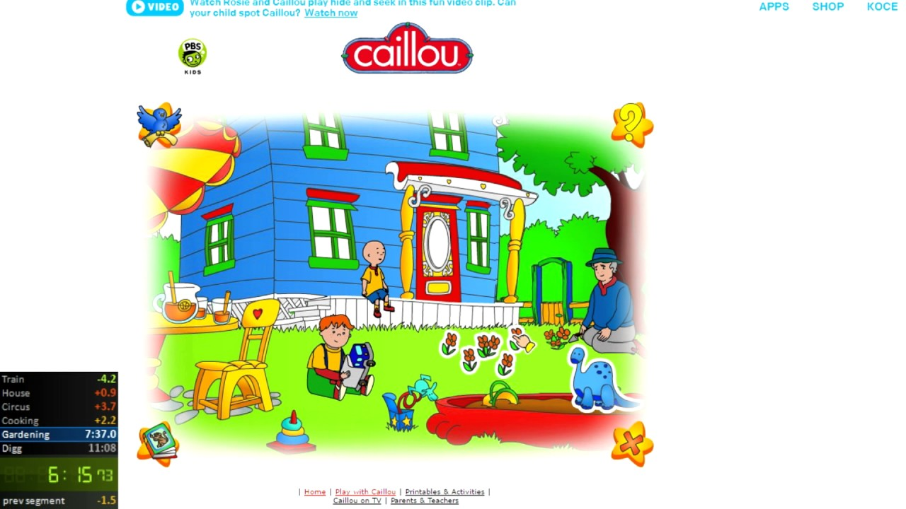 Caillou Games - PBS Kids SpeedRun Any% in 11:29(World Record)