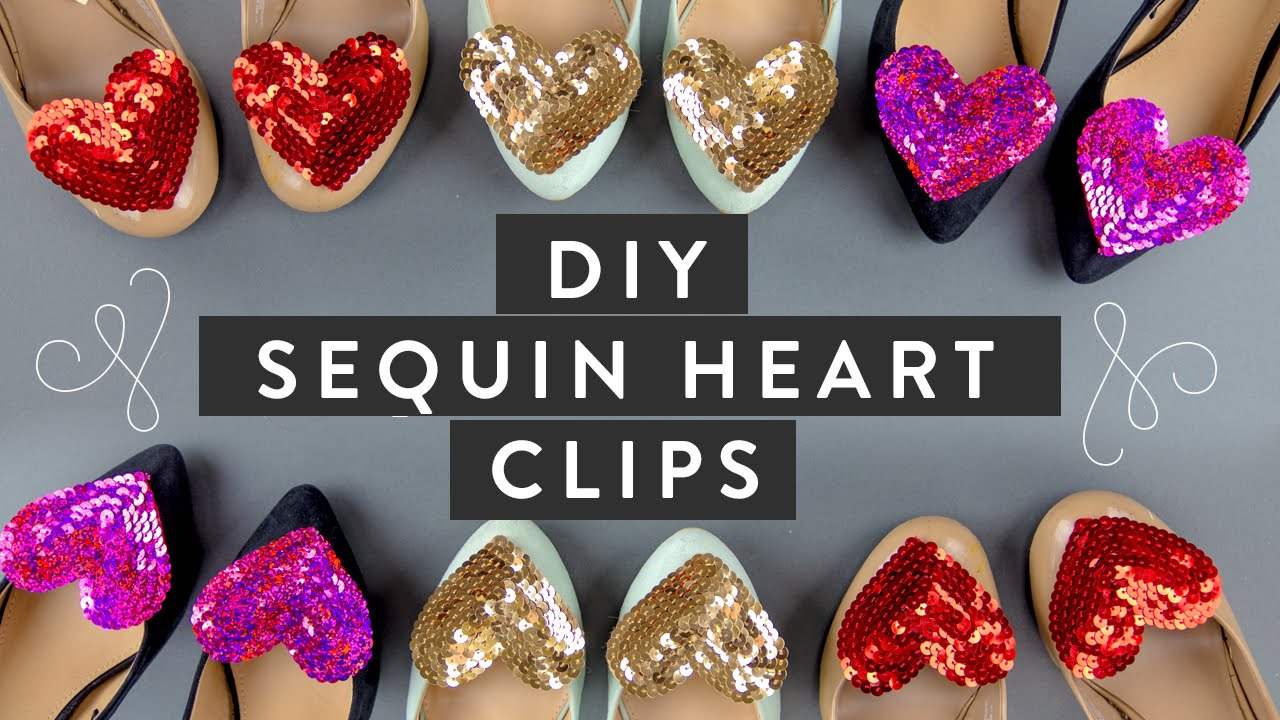 DIY: Sequin Heart Shoe Clips, Brooch & Bobby Pin SUPER EASY! | Miss Louie