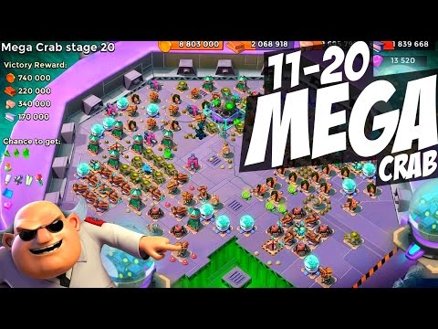 MEGA CRAB STAGES 11 - 20 CHAOS! Boom Beach Strategy! (New Intro/Outro!)