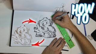 How To Outline A Graffiti Piece Tutorial - Letter B