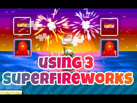 Using 3 Super Fireworks ( Got PHOENIX ! ) ( Summerfest 2017 )   Growtopia