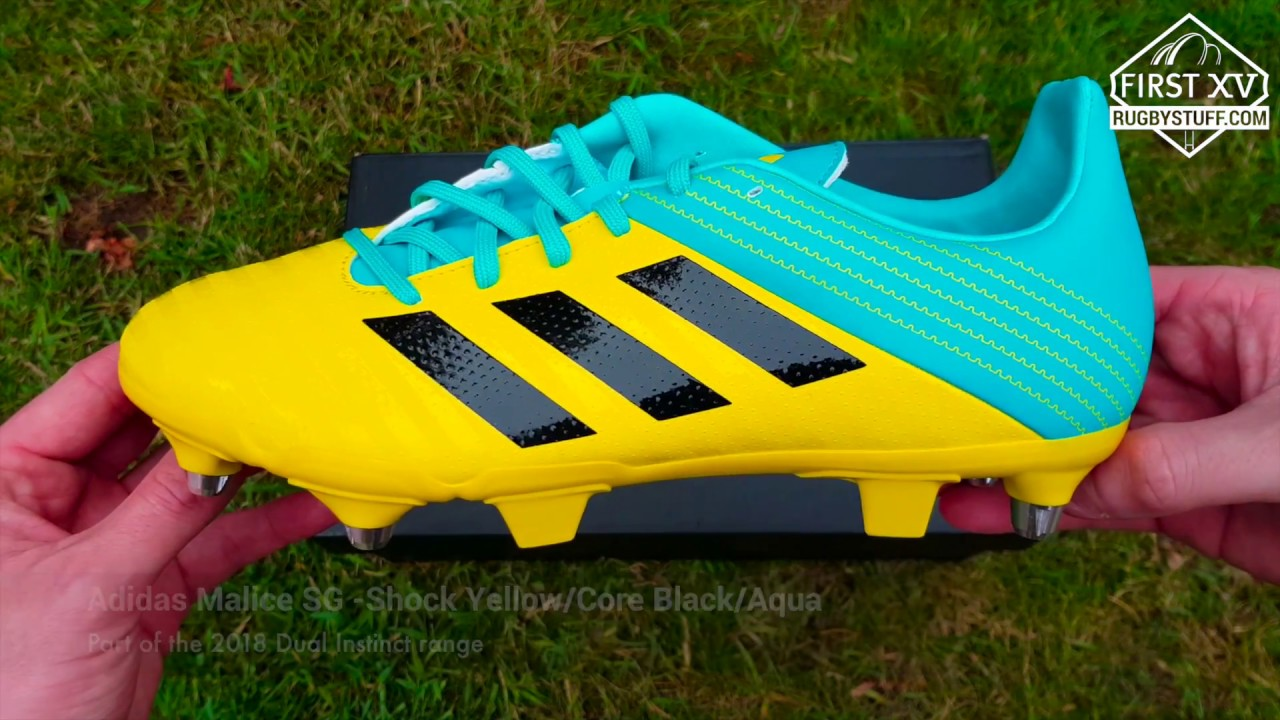19e2f2b20a3a Adidas Malice SG Yellow Rugby Boots - 2018 Dual Instinct Collection ...