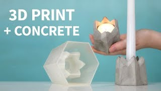 Turn a 3D PRINT into CONCRETE - dual size candle holder!
