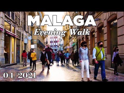 Malaga Spain Evening Walk [4K] - April 1, 2021