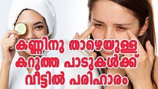 കണ്ണിനു താഴെയുള്ള കറുത്ത പാടുകൾക്ക് വീട്ടിൽ പരിഹാരംHealthy kerala | Health tips | Health | Eye care