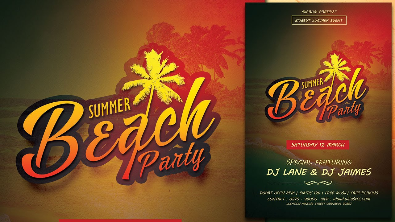 create a summer beach party flyer in photoshop youtube