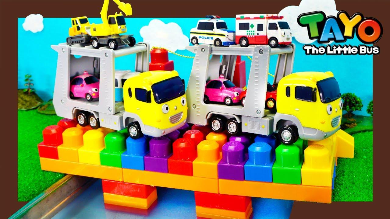 Tayo Rainbow Lego Play l स्ट्रांग हैवी व्हीकल्स से रंग सीखें l रेनबो ब्रिज पर कैरी और बेबी कार!