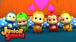 пять маленьких обезьян | развивающий мультфильм | детские песни | Junior Squad Russia | потешки