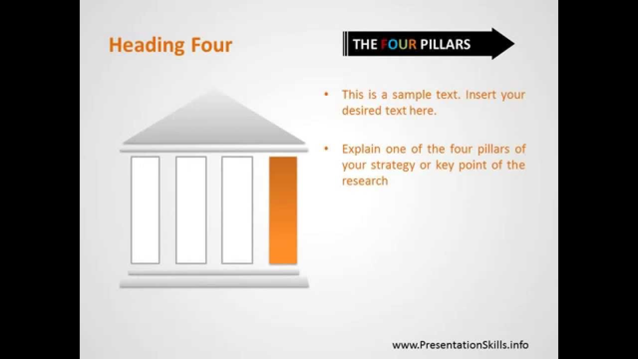 The four pillars strategy free powerpoint template slides youtube toneelgroepblik Choice Image