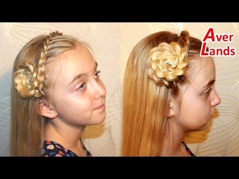 ПРИЧЕСКИ косичка ободок из французской косы украшен цветком из волос на длинные средние волосы #16