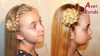 ПРИЧЕСКИ косичка ободок из французской косы украшен цветком из волос на длинные средние волосы #16(URL: https://youtu.be/oy1OebGxiBE В этой прическе выделяем часть волос, которые будем плести косой ободком. Начинаем плест..., 2016-05-13T19:12:13.000Z)