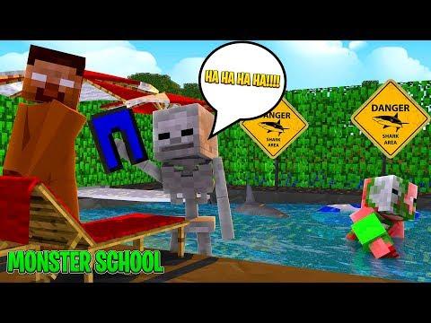 Monster School - SWIMMING CHALLENGE w/SHARKS - Minecraft Animation