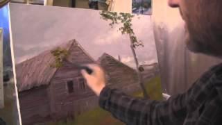 Видеоурок Сахарова Как научиться осень, дом живопись для начинающих, уроки рисования