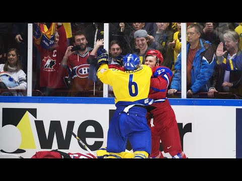 Jesper Pettersson And Andrei A Mironov Fight In World Junior Hockey Championship 2014 Semifinal
