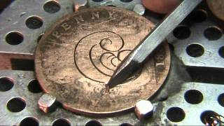 Close Up Hand Engraving Scroll Work Love Token Hobo Nickel