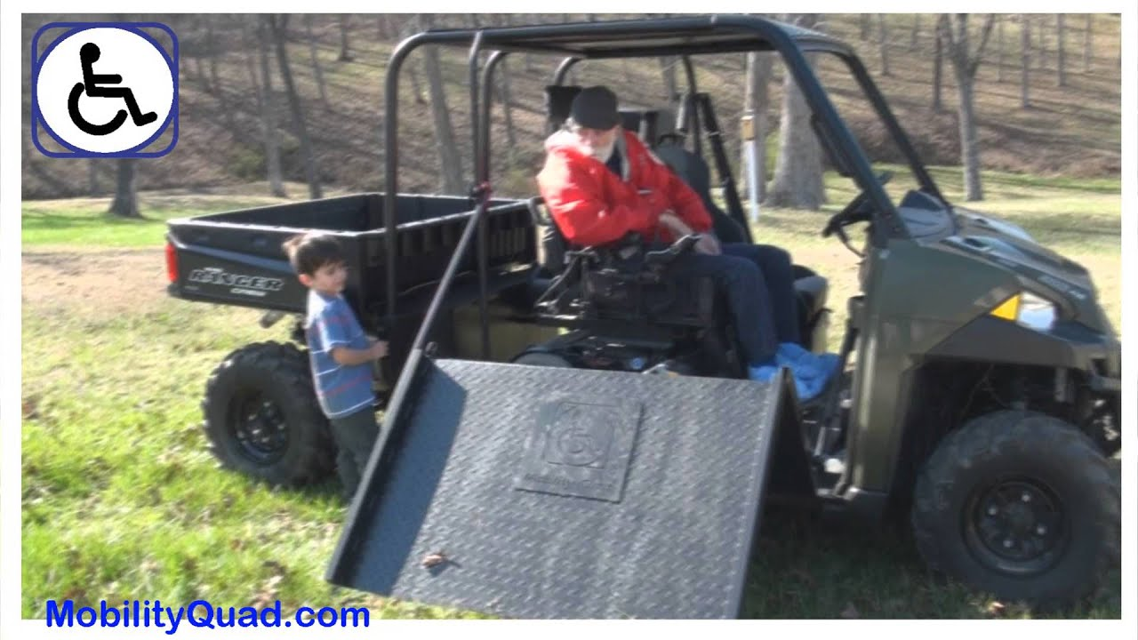 all terrain electric wheelchair chalk painted chairs mobility quad power ramp - handicapped access atv youtube
