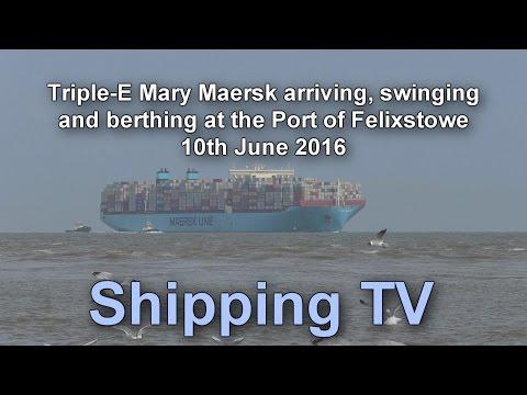 Mary Maersk arrives, swings and berths, 10 June 2016