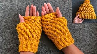 Easy Crochet Gloves/Two in One  Crochet fingerless gloves/Crochet wrist warmers.