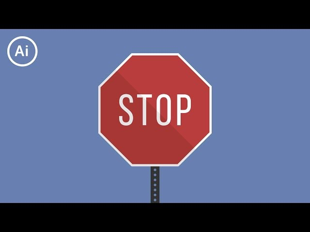 Flat Design Stop Sign | Illustrator Tutorial