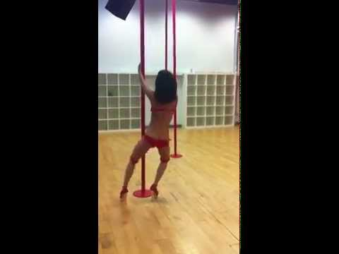 Jessica Szohr The Internship pole dance rehearsal