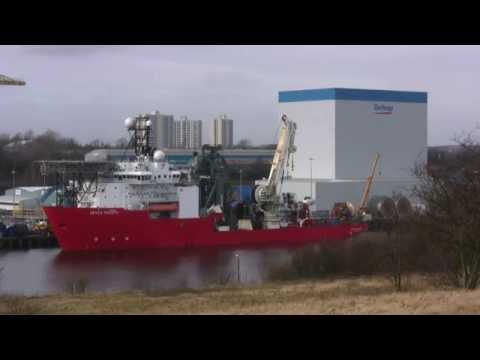 Offshore Vessel Seven Pacific at Walker on the River Tyne 16th February 2015