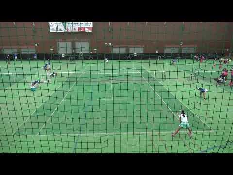8日 テニス女子シングルス 会津ドーム3コート 岡山学芸館vs浦和麗明 決勝1