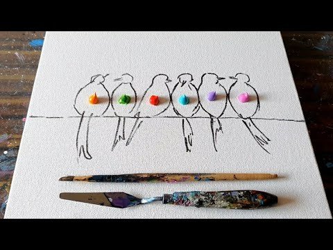 Colorful Birds / Abstract Painting Demo / Easy for beginners / Relaxing / Daily Art Therapy/Day#0287