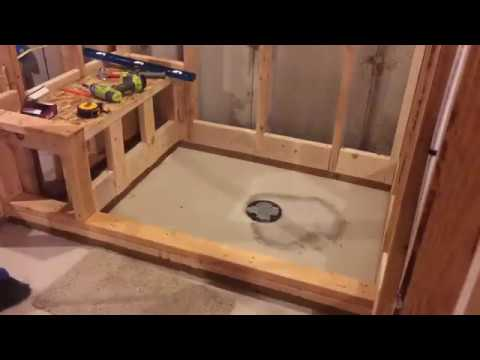 Shower pan with bench - YouTube