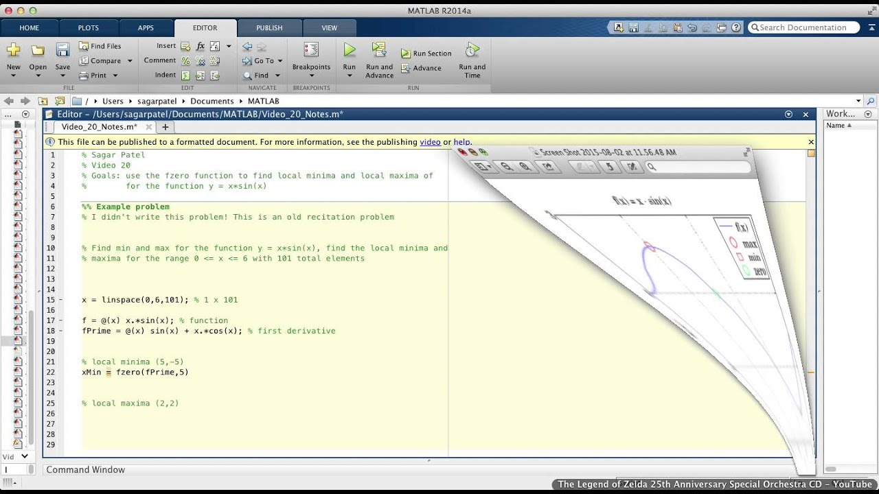 MATLAB Video 20: Finding local minima and maxima using fzero function