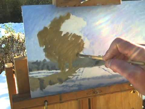 Winter landscape Painting 'Oak in a field, December'