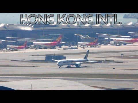 Busy Day Hong Kong Airport with Air traffic control Aircraft Movements