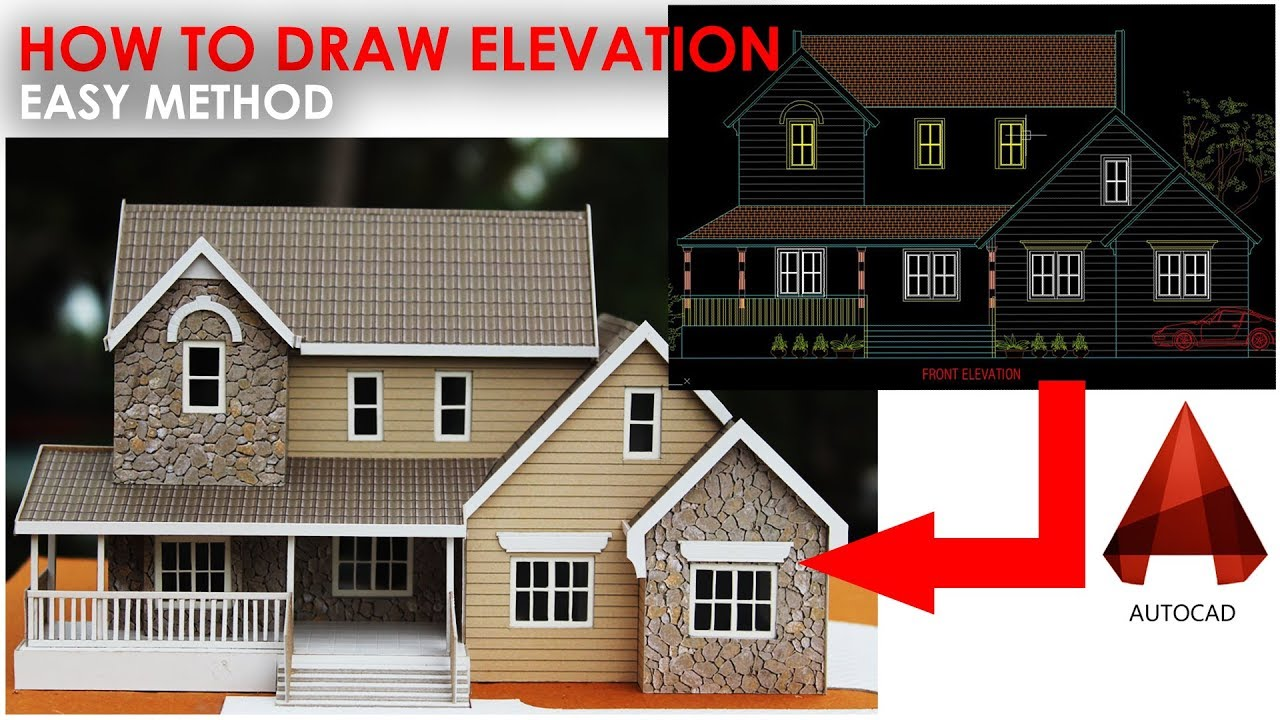 How To Draw A Slop Roof Building Elevation In Autocad Easy Method Youtube