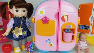 Baby Doll Pink Refrigerator and food toys play house story - ToyMong TV 토이몽 YouTube Videos