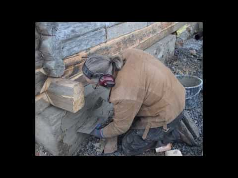 Foundation Repair with Lime Rich Mortar, 1875 Laftehus (timber house), Norway.