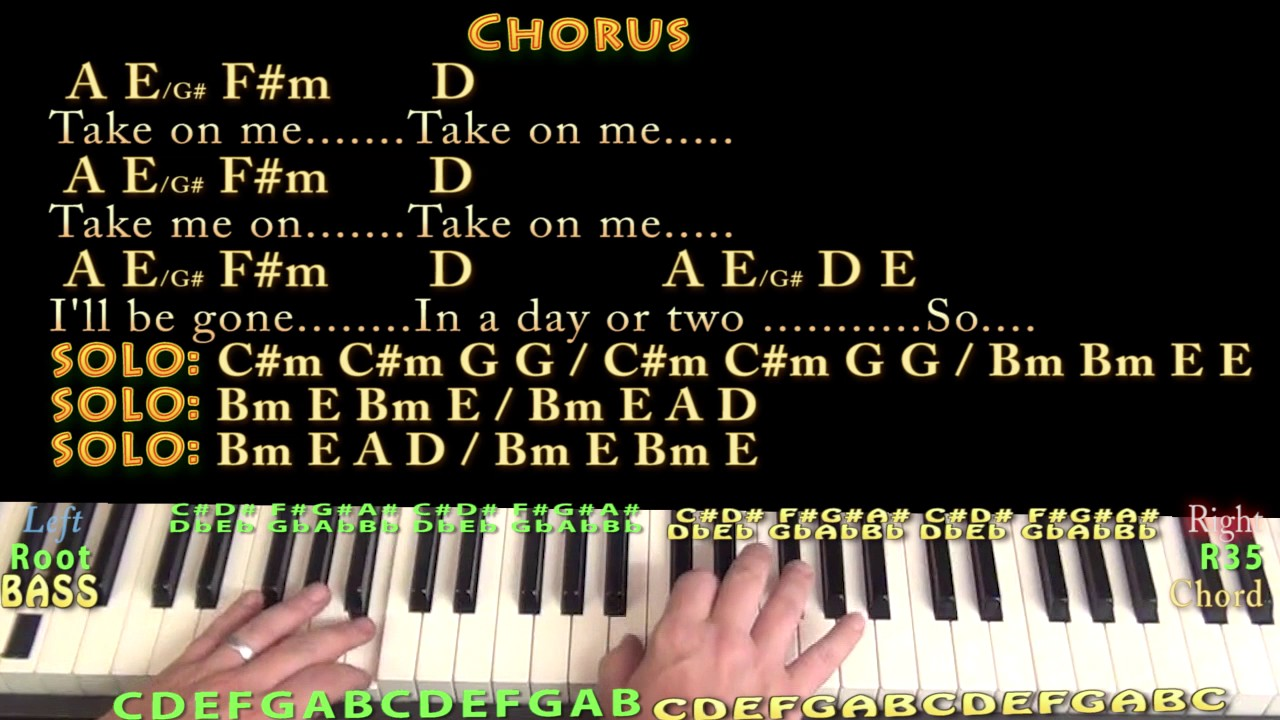 Take on Me a ha Piano Lesson Chord Chart in A with Chords/Lyrics