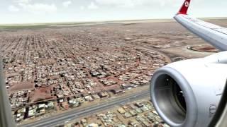 برنامج محاكاة طيران - (طيران تشبيهي ) هبوط في مطار الخرطوم  الخطوط التركيه 737 fsx