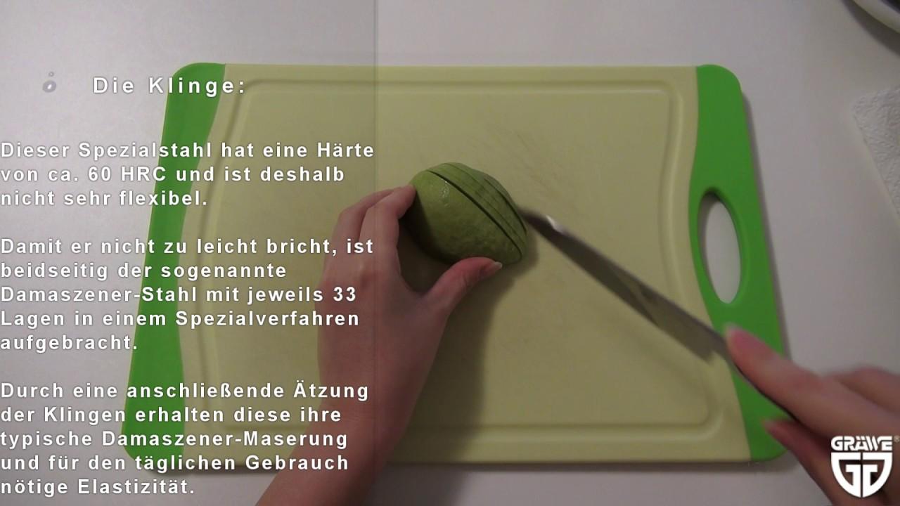 GRÄWE asiatisches Kochmesser 12,5 cm - Damastmesser für zarte Hände ...