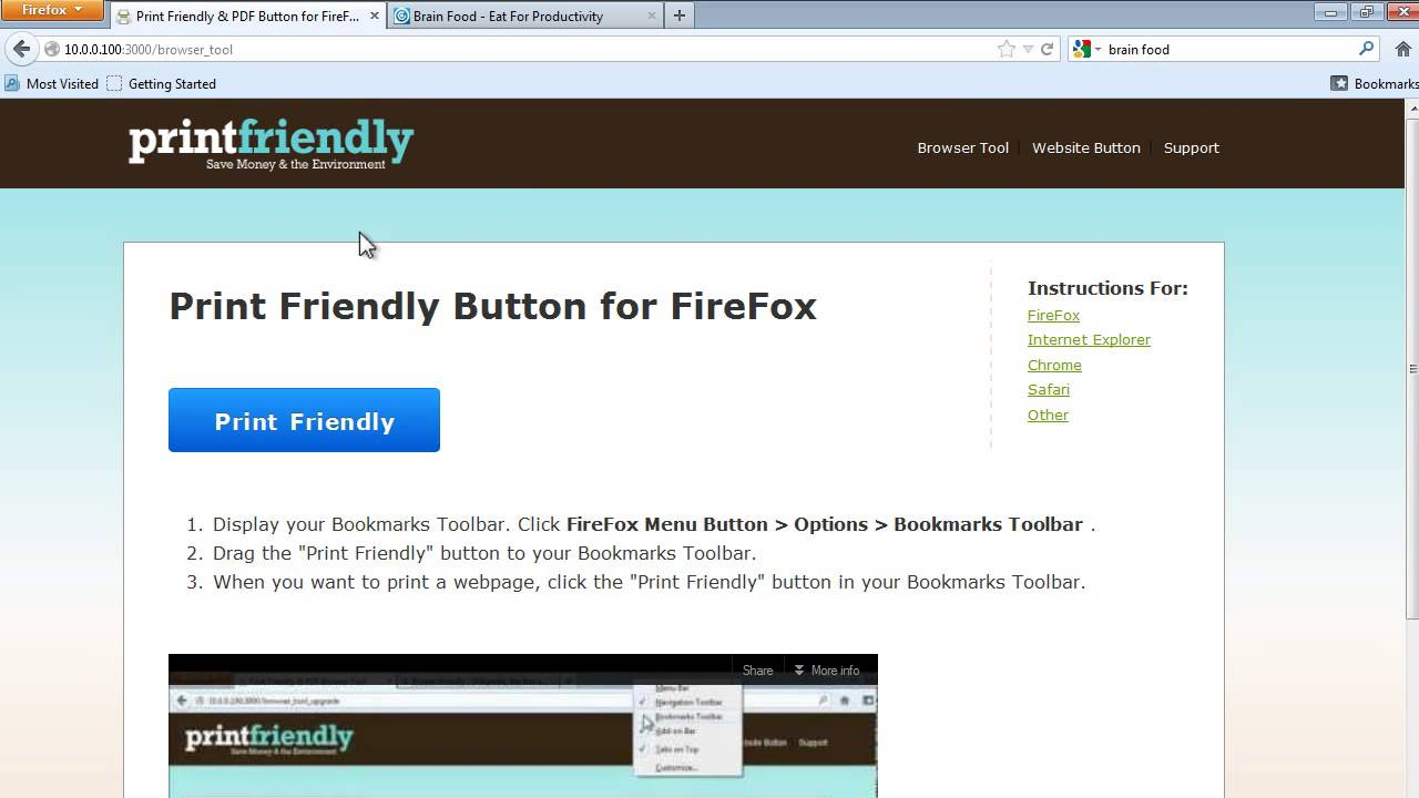 how to set default printer in firefox
