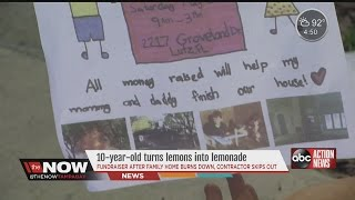 10-year-old Turns Lemonade Stand Into Fundraiser To Rebuild Family Home Destroyed By Fire