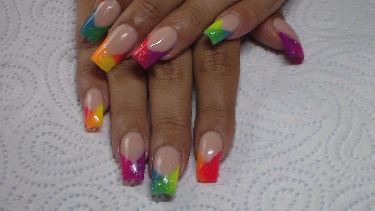 Acrylic Nails | Neon ombre | Tones Neon Collection - YouTube