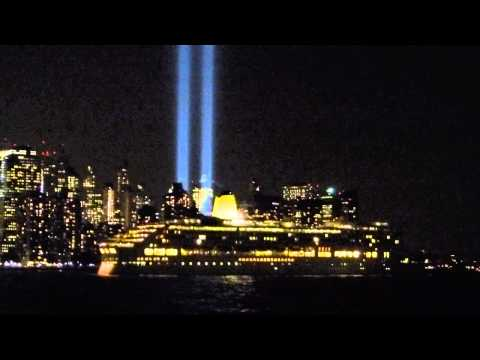 P&O Aurora passes the World Trade Center and the tribute in light