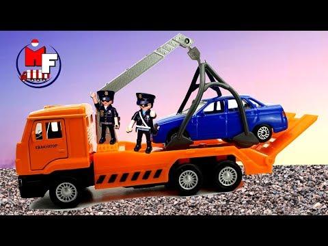 Truk Pemadam Kebakaran, Truk Derek, Mixer Beton, Truk Sampah. Kartun Dan Membongkar