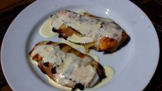 Grilled Chicken Cordon Bleu With White Wine And Lemon Cream Sauce