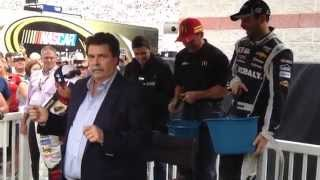 NASCAR drivers Dale Earnhardt Jr., Danica Patrick douse Mike Helton in ALS Ice Bucket Challenge